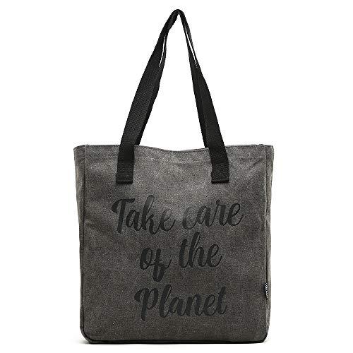 MISAKO - Bolsa de Playa de Tela Algodón POP   Tote Bag de Tela Multiusos - Bolsa Grande de Verano Reutilizable en Rafia 40x38x10cm (Negro)