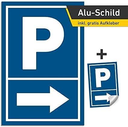 3mm Alu Schild Pfeil Rechts 20x30cm Parkschild Parkplatz Ohne Bohrung Baumarkt