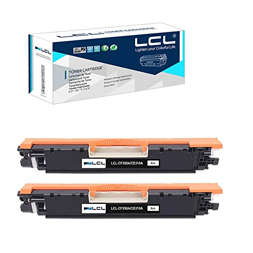 LCL Cartucho de Tóner Remanufacturado 130A CF350A CRG529 CRG-529 (2 Negro) Reemplazo para HP Color Laserjet Pro MFP M176 M176FN M177 M177FW M176n