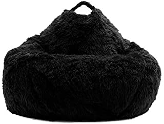 Nexis Sundry Ultra Soft - Comfortable Machine Washable Black Faux Furry Glam Tear Drop Slacker Bean Bag Chair Cover - Without Beans - Cover Only - XXXL (48'' x 36'')