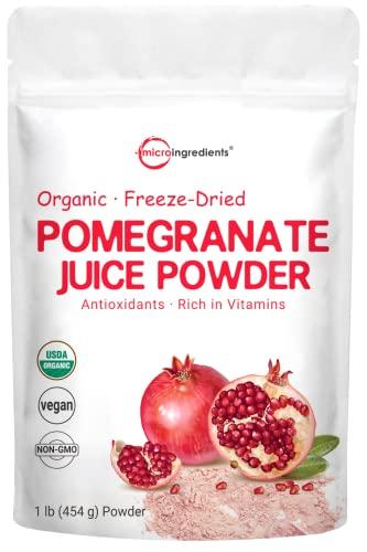 Organic Pomegranate Juice Powder, 1 Pound (91 Serving), Freeze Dried & Cold Pressed, Natural Vitamin C (Immune Vitamin), Support Immune System, Organic Flavor for Smoothie & Beverage, Vegan