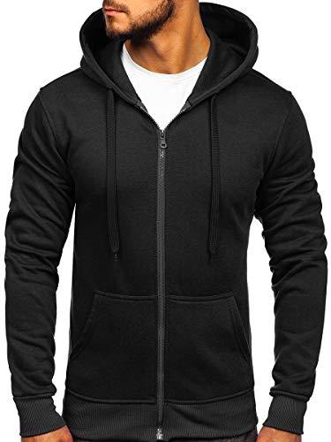 BOLF Herren Kapuzenpullover Sweatjacke Hoodie Sweatshirt mit Kapuze Reißverschluss Basic Einfarbig Fitness Training Sport Style J.Style 2008 Schwarz M [1A1]