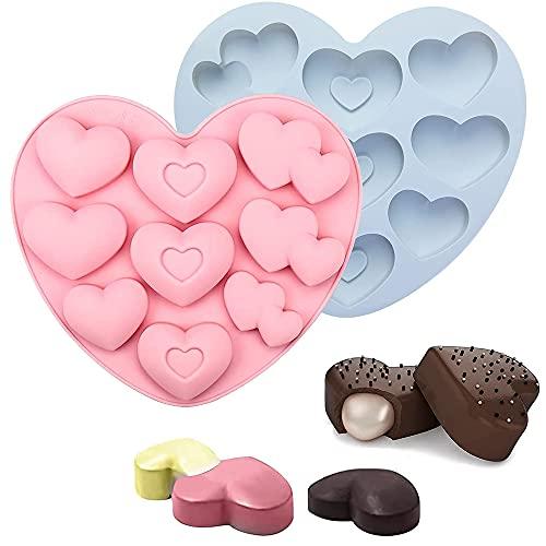 2 Pezzi Stampi in Silicone Cuore, Stampi In Silicone Per Cioccolatini, Stampi Silicone per Caramelle e Cioccolato, Con 3 Forme e 9 Fori, per Fare Cioccolato, Gelatina, Mousse, Sapone (Rosa, Blu)