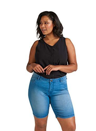 Zizzi Damen Shorts Große Größen Kurze Hose Regular Fit Casual Sommerhose 42-56, Blau, 44