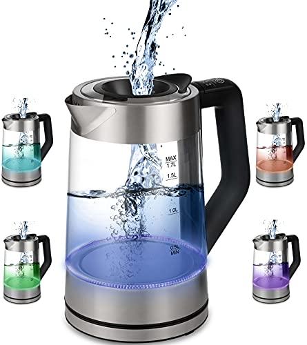 Glas Wasserkocher 1,7 Liter | 2200 Watt | Edelstahl mit Temperaturwahl | Teekocher | 100{9ccb9169c93de6c9f13a77e09844f5763293faad1deeb930800c853e553cf48a} BPA FREI | Warmhaltefunktion | LED Beleuchtung im Farbwechsel | Temperatureinstellung (50°C-100°C)