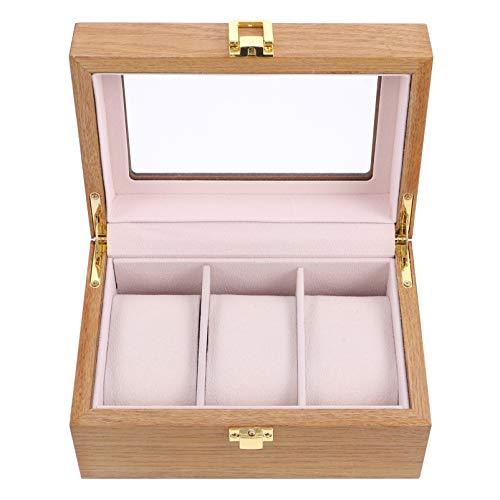 UKCOCO Caja Organizadora de Relojes de Madera Reloj Retro Antiguo Collar Pulsera Pendientes Anillos Contenedor Organizador Caja de Almacenamiento con Ventana Transparente de Almohada