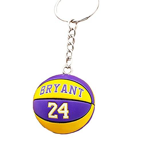 FANwenfeng Número de jugador de baloncesto llavero recuerdo coche colgante decoración deportes llavero esférico para regalos (Yellow - Bryant)
