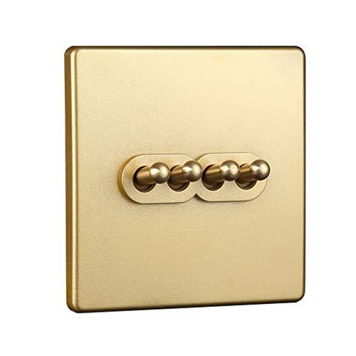 FSJKZX Interruptor De Luz Golden Home Hotel Office Retro Latón Interruptor De Palanca Panel De Toma De Corriente Toma De Corriente 86 (Color : Gold, Size : 4)