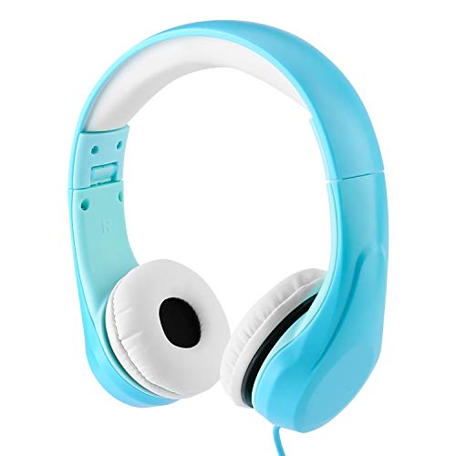 [Volume Limited] LINKWIN Kids Safety Foldable Stereo Headphones,3.5mm Jack Wired Cord Earbuds, Volume Controlled at 85dB On/Over Ear Children Toddler Headset, for iPad Kindle Airplane School, Blue