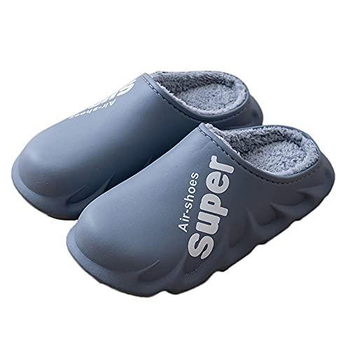 REXFS Zapatillas Impermeables para Hombre y Mujer, Zuecos Cálidos con Forro Difuso, Zapatos De Jardín De Invierno, Zapatillas Cálidas para Casa, Mulas para Interior y Exterior (42-43,Gray)