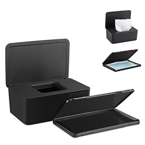 Jooheli Feuchttücherbox, Aufbewahrungsbox für Feuchttücher, Baby Tücher Fall,Toilettenpapier Box, Spenderhalter mit Deckel, Kunststoff Feuchttücher Spender mit Rechnung/Papierhandtuch Organizer