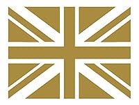 イギリス 国旗 ユニオンジャック柄 (四角) カッティング ステッカー (16.金)