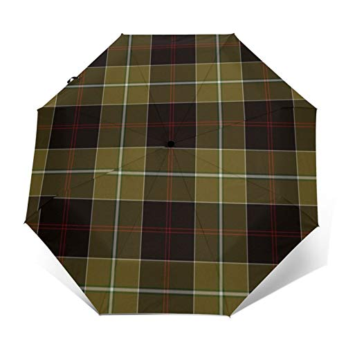 Dunlop - Paraguas plegable para caza, diseño de tartán a prueba de viento y resistente al agua, paraguas automático de tres pliegues
