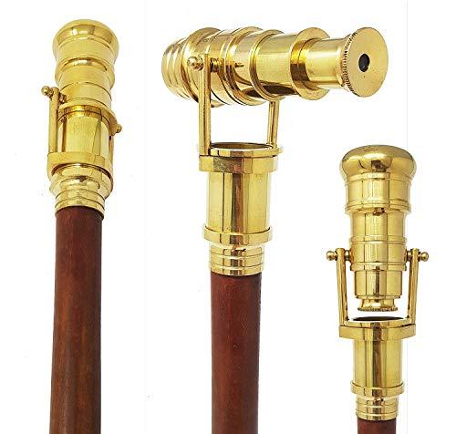 Royaume-Uni Cadeau Télescope Canne de marche pliante longue-vue Laiton Canne Télescope avec clé en palissandre indien