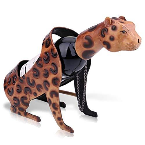 WUHUAROU Soporte de Vino de Leopardo Metal Animal Wine Rack Escultura Bar Soporte de Botella de Vino Práctico Interior Decoración del hogar Artesanía