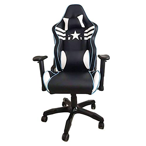 SQQSLZY Game Chair,Racing Game Chair,Lifting Armrest,Adjustable Backrest,Game Chair Racing Office Ergonomic Computer Adjustable Swivel Chair,Black Leather Full Back