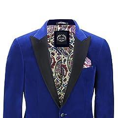 Mens Velvet Tuxedo Dinner Jacket Retro Smoking Coat Formal Tailored Fit Blazer[BLZ-Dinner-Mike-Royal-Blue,Royal Blue,Chest UK 54 EU 64] #1