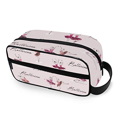 QMIN - Neceser portátil con diseño de Bailarina de Ballet, Bolsa de Viaje, multifunción, Bolsa de Maquillaje, Bolsa de Almacenamiento para niños, niñas, Mujeres, Hombres