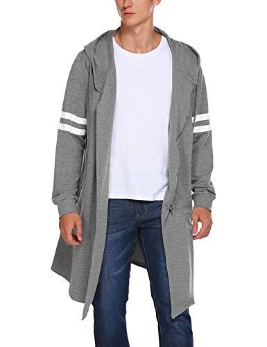 Coofandy Felpa da Uomo Giacca Lunga con Cappuccio e Zip Jacket Outwear Sweatshirt Giacca Fashion Cappotto per Adolescenti Cardigan Lungo