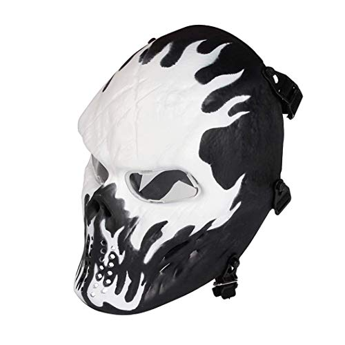 Anyoupin Paintball Mask, Skull Skeleton Full Face Airsoft Mask with Clear Lens Army Fans Supplies M06 Tactical Mask for Halloween Paintball BB Gun CS Game Cosplay and Masquerade Party (Wildfire)