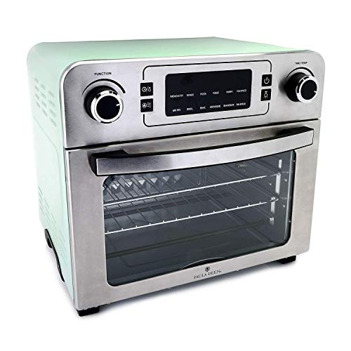 Paula Deen 24 QT (1700 Watt) Jumbo Party-Size Air Fryer Oven with Rapid Air Circulation System, Multi-Function Toaster Oven, Dehydrate, Bake, 10 Preset Functions with Simple Dials, Large Countertop Convection Oven (Mint)