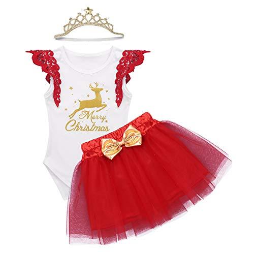 YiZYiF Bébé Fille Déguisement Santa Costume Mère Noël Robe Princesse Body 1er Anniversaire Barboteuse Naissance Tutu à Paillettes Combinaison et Bandeau Ensemble Noël 3-18 Mois (3-6 Mois, B Blanc)