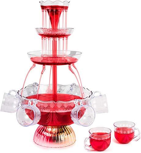 LJXiioo Fontana per Feste a 3 Livelli con Base illuminata a LED, Tazza da 8 galloni