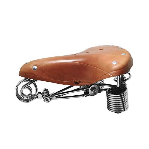 TentHome Vintage Fahrradsattel Fahrradsitz Leder Cityradsättel Sattel gefedert Tourensattel Federsattel mit verbesserten 4 Federn, mit Kloben und Niete (Orange)