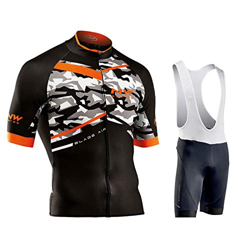 Fxwj Heren fietsshirt set ademend sneldrogend jersey korte mouwen + fietsbroek met 9D zitkussen MTB fietskleding, A,S