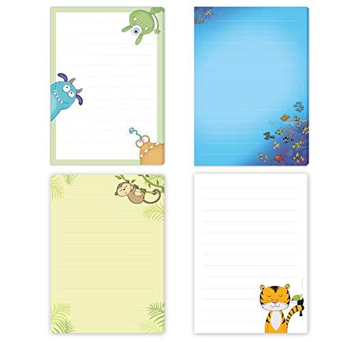 4 x Briefpapier Block TIGER, FISCHE, AFFE & MONSTER - jeweils DIN A5 liniert mit 50 Blatt einseitig bedruckt/Briefpapier für Kinder/Briefblock Kinder