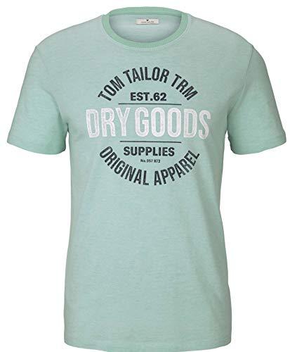 Tom Tailor 1025985 Print Camiseta, 26721 Lucite Green Fine Stripe - Juego de Mesa de Juguete, L para Hombre