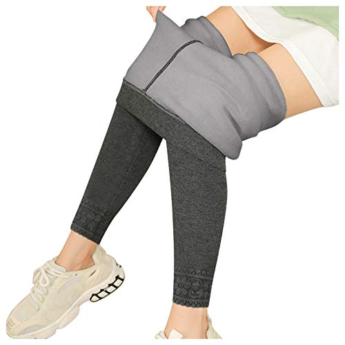 Lenfesh Sportleggins Damen Lang Thermoleggins Legins Hose für Damen Sexy Leggings Mit Hoher Taille Frauen Thermal Plüsch Warme und Weiche Übergroße Slim Fit Leggings