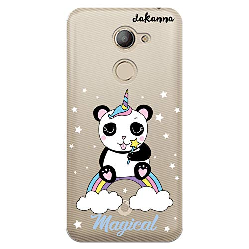 dakanna Funda Compatible con [Vodafone Smart N8] de Silicona Flexible, Dibujo Diseño [Panda Unicornio Magico], Color [Fondo Transparente] Carcasa Case Cover de Gel TPU para Smartphone