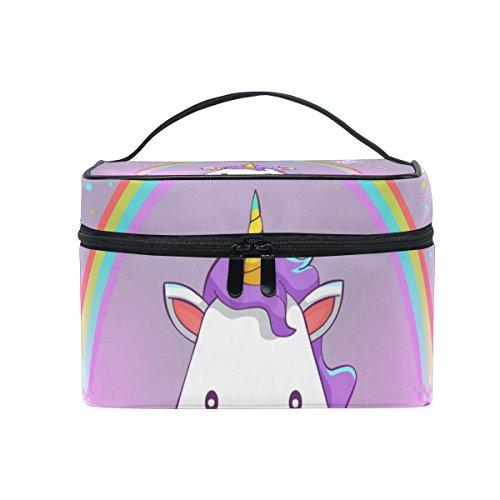 ISAOA Happy Unicorn - Bolso organizador de maquillaje con cremallera y compartimentos ajustables