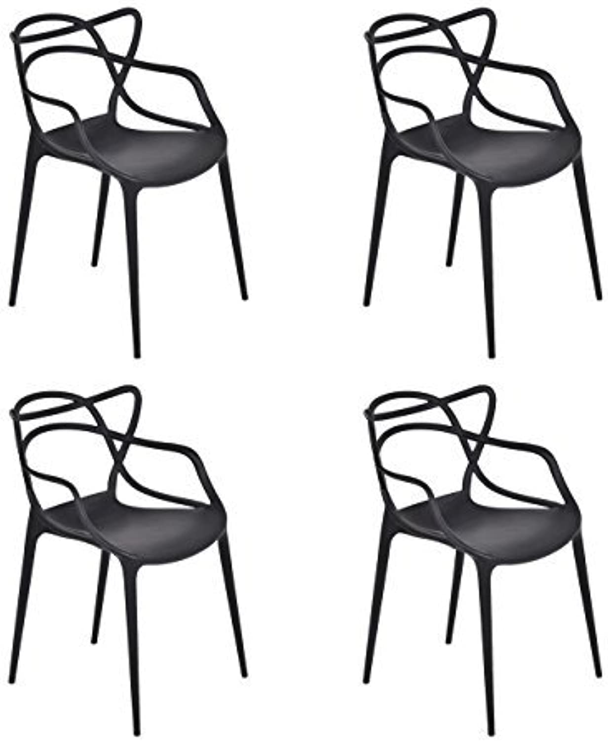 HCD Set of 4  Masters  Style Arm Chairs in Black