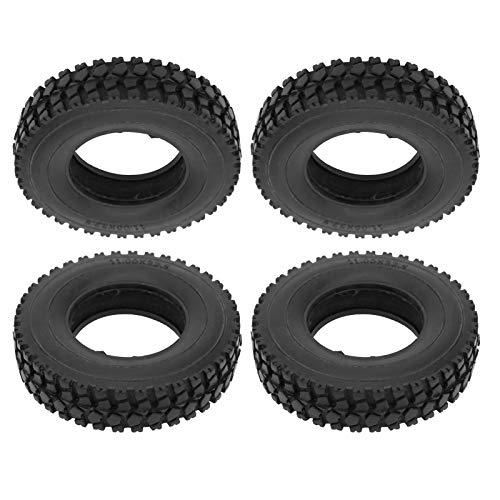 JYLSYMJa Neumático de Goma RC, 4 Piezas de 20 mm de Ancho, neumático con patrón de Piedra triturada para camión Tractor Tamiya 1/14, Coche RC, Negro, Conveniente y práctico