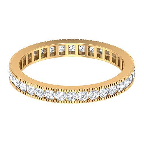 Milgrain Anillo de boda, Anillo de eternidad antiguo, HI-SI 0.87 ct anillo de diamante redondo, anillo de declaración de novia, anillo de dama de honor, 18K Oro amarillo, Size:EU 55