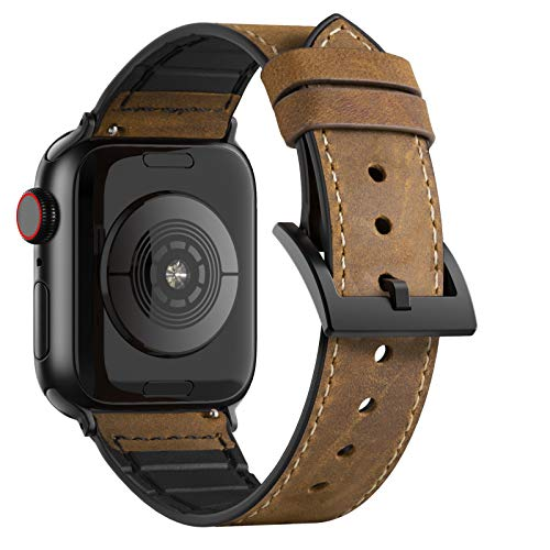 Adepoy für Apple Watch Armband Leder, Echt Lederarmband Kompatible mit iWatch Series 5/4/3/2/1, Lederoberfläche+TPU Unterbau(Braun, 38mm/40mm)