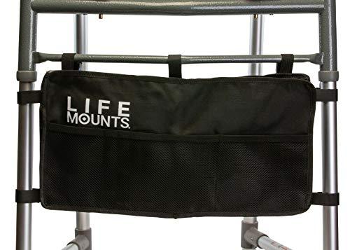 Life Mounts Rollatortasche für Gehhilfe, universell passend, Schwarz