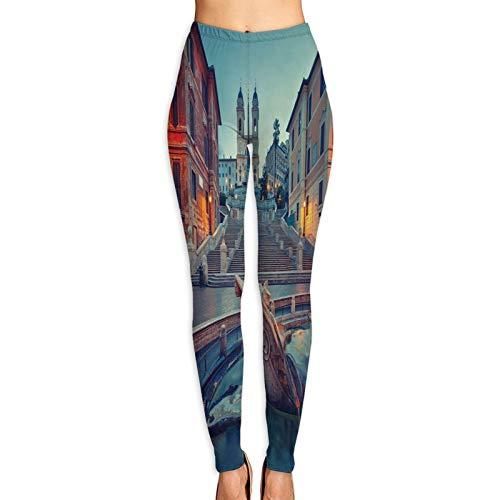 Pantalones de Yoga para Mujer,Plaza de España anochecer Roma Italia,Pantalones de Entrenamiento de Cintura Alta Medias elásticas de Yoga Impresas M