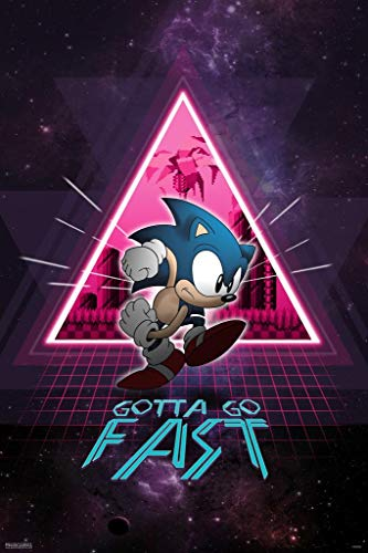 Pyramid America Sonic The Hedgehog Gotta Go Fast Neon Space Video Game Gaming Laminated Dry Erase Sign Poster 24x36