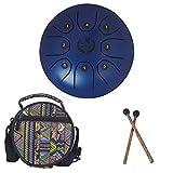 MMBAT Mebite Zungentrommel Handpan Brahma 14 cm Mini Happy Drum Musical Instrument mit Stäben und Tasche im National Style blau