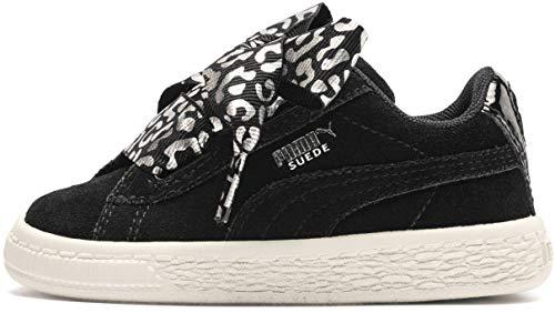 PUMA Baby Suede Heart Kids Sneaker, Black Silver-Whisper White, 4 M US Toddler