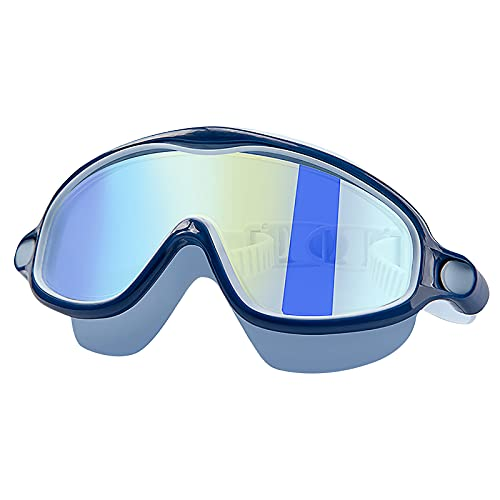 Alinwer Kids Swim Goggles, Colorful Swimming Goggles Anti Fog UV Protection Crystal Clear Vision Goggles for Boys Girls (Navy, one Size)