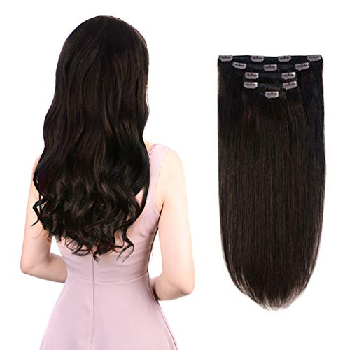 5 Pieces 14 Remy Clip in Hair Extensions Human Hair Dark Brown - Beauty Silky Straight Short Thick Real Hair Extensions for Women Fashion (14 inches, #2, 70grams)