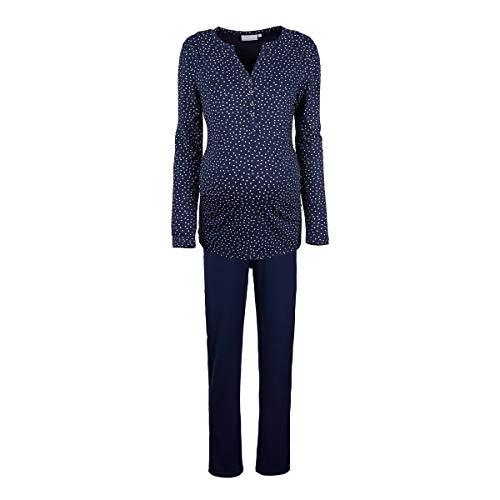 2HEARTS Umstands- und Still-Pyjama Sweet Dreams Cosy & Wild/Schwangerschaftsschlafanzug/AOP Dark Blue Black iris