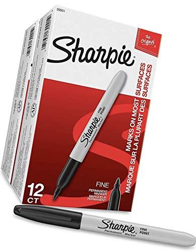 Marcadores permanentes Sharpie de ponta fina, 24 marcadores (2 caixas de 12), preto (30051)