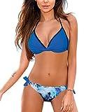 UMIPUBO Mujer Conjunto de Bikini Cintura Alta Traje de Baño de Dos Piezas Push-up Cuello en V Bañador Ropa de Playa Traje de baño