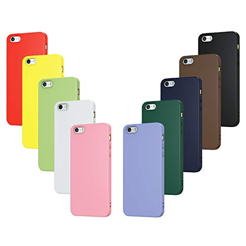 iVoler 10x Custodia Cover per iPhone SE 2016 / 5S / 5, Ultra Sottile Morbido TPU Silicone Antiurto Protettiva Case (Nero, Bianco, Blu, Verde, Verde Scuro, Rosa, Rosso, Giallo, Marrone, Viola)