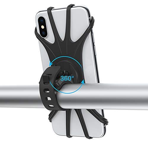 """Suporte de telefone para celular de motocicleta dodocool, suporte de telefone de silicone com rotação de 360° com suporte de guidão universal ajustável para iPhone 11 Pro Max/X/XS MAX/XR/8/8 Plus, Samsung S10/S9/S8 4,0""""-6,5"""""""